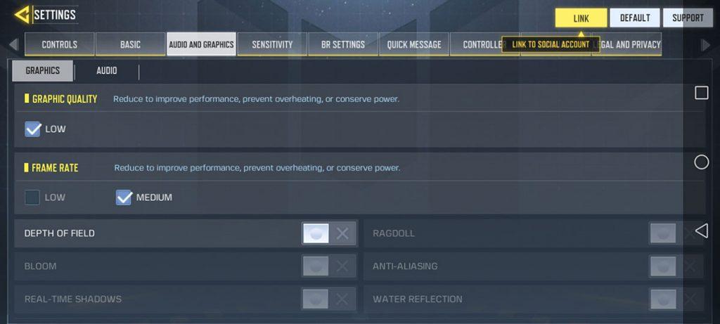 صفحه تنظیمات گرافیکی بازی Call of Duty